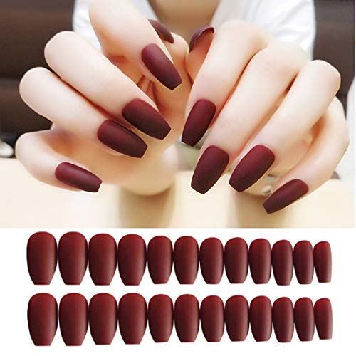 Umillars 24pcs Pure Color Coffin Nails Matte False Gel Nails Art Tips Sets Full Cover Medium False Nails for Ballerina Cosplay Office Lady (Wine red)