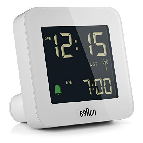 Braun Digitaler Funkwecker Mitteleuropäische Zeitzone (MEZ) mit Schlummerfunktion, Negatives LC-Display, Schnelleinstellfunktion, Crescendo-Alarm in Weiß, Modell BC09W-DCF.