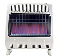 30,000 BTU Natural Gas heater to heat spaces up to 1000 square feet Blue flame burner for even convection heat. Maximum Elevation (Ft)-4500. Fuel Consumption/Burn Rate (Gal/Hr)- .030 MCF Automatic low oxygen shut-off system (ODS). CSA Certified Opera...