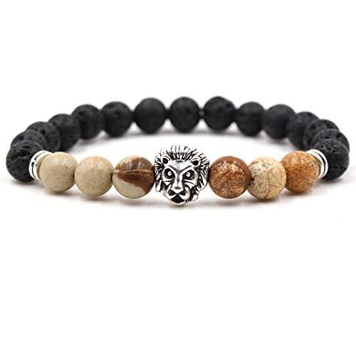 LLXXYY stenen armband, natuursteen kralen handgemaakte armband, 7 chakra vintage Bangle/zilveren leeuw hoofd Lava steen koffie armbanden/voor vrouwen mannen paar charme yoga balans sieraden Accessiors geschenk