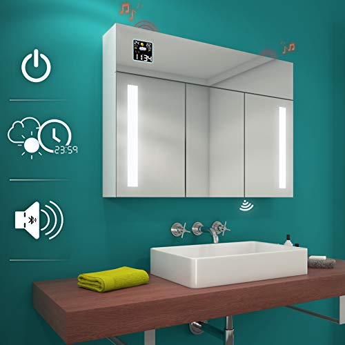 FORAM Spiegelschrank mit LED Beleuchtung Badschrank A++ | Schalter, WETTERSTATION, Bluetooth Lautsprecher, LED Uhr (Breite 100 cm & Höhe 72 cm, Alpines Weiß)
