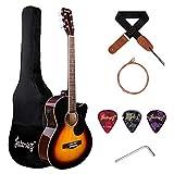 JUAREZ Arpeggio 39 Inch Semi-Acoustic Guitar Kit, Spruce Top, Rosewood Fretboard & Bridge, Truss Rod, 4 Band EQ, Chrome Die Cast Machine Tuners, Sunburst
