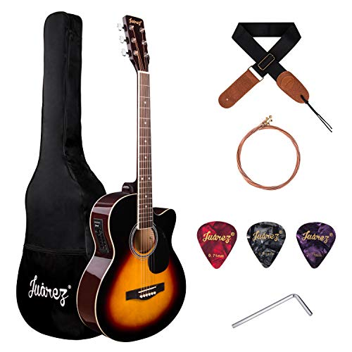 Juarez Arpeggio 39 Inch Semi-Acoustic Guitar Kit, Spruce Top, Rosewood Fretboard & Bridge, Truss Rod, 4 Band EQ, Chrome Die Cast Machine Tuners, Sunburst