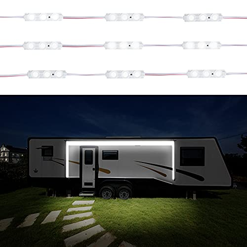 RELYTEC RV 차양 LED 모듈 라이트 IP65 방수 퀵 커넥터 고휘도 및 장수명 RV 외부 조명을 위한 안티 글레이어 렌즈 이상 RV 파티 LED 라이트 3 미터 롱 20 모듈