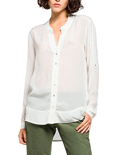 REPLAY W2926 .000.82798 Blusa, Blanco (Off White), 34 (Talla del Fabricante: X-Small) Damen (Ropa)