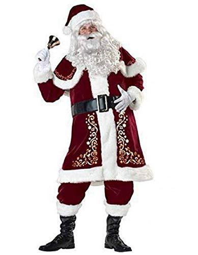 Vertvie Herren Damen Kostüm Weihnachtsmann Partei Cosplay Outfits anzüge Santa Claus Nikolauskostüm (5XL, 8pcs)