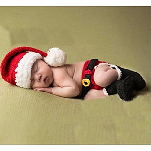 DAYAN - Berretto a forma di Babbo Natale, per neonati, fatto a mano, per neonati, 6-12 mesi