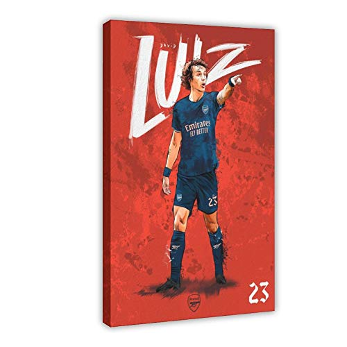 Póster de la famosa superestrella de fútbol de Brasil David Luiz en lienzo para decoración de pared, impresión de cuadros para sala de estar o dormitorio, 20 x 30 cm, estilo de marco 1