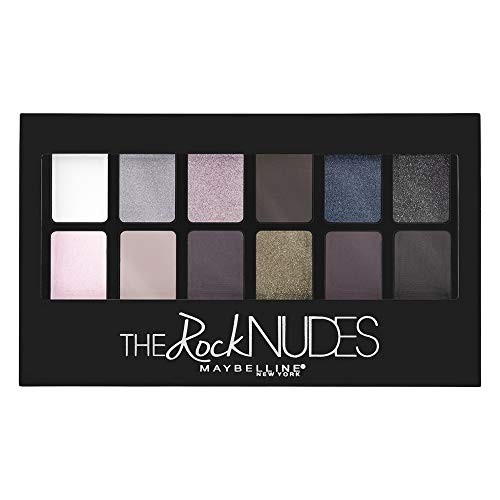 Maybelline New York The Rock Nudes Palette Ombretti, 12 Colori dalle Nuance Perlate Chiare e Scure Shimmer
