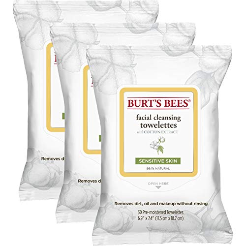 Burt's Bees Sensitive Facial Cleansing Towelettes with Cotton Extract for Sensitive Skin - 30 Count (Pack of 3)