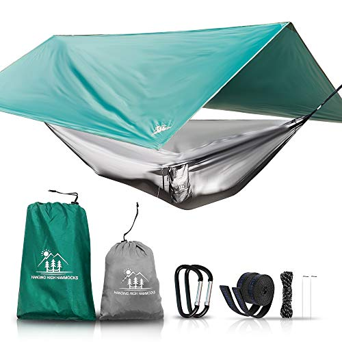 Hanging High Hammocks Outdoor Hammock and Tarp Bundle to Get Hanging | Hammock, Straps, Carabineer, Mosquito Netting, Tarp, Guy Lines and Stakes