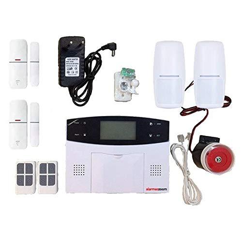Alarma GSM para casa, hogar en propiedad AZ023 GSM linea teléfono fijo RJ-11 Sin Cuotas Con teclado Castellano GSM. Facil instalar. Sin conexion central receptora de alarma (Kit 2)