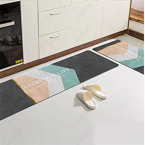 Alfombra de Puerta de Entrada Interior de decoración del hogar Moderna, Alfombra de Piso Antideslizante de Cocina, Alfombra Absorbente de baño de balcón A4 40x60cm + 40x120cm