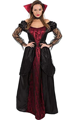 Meine Damen Vampiress Viktorianischen Vampir Lang Halloween Kostüm Large