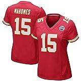 Patrick Mahomes # 15 Mädchen American Football Trikot, Kansas City Chiefs Frauen Rugby Trikot, Top Elite Edition Kurzarm Top T-Shirt-red-2XL