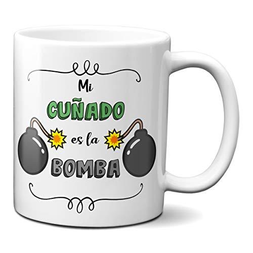 Planetacase Taza para cuñados - Mi cuñado es la Bomba - Regalo Original Familia Ceramica 330 mL