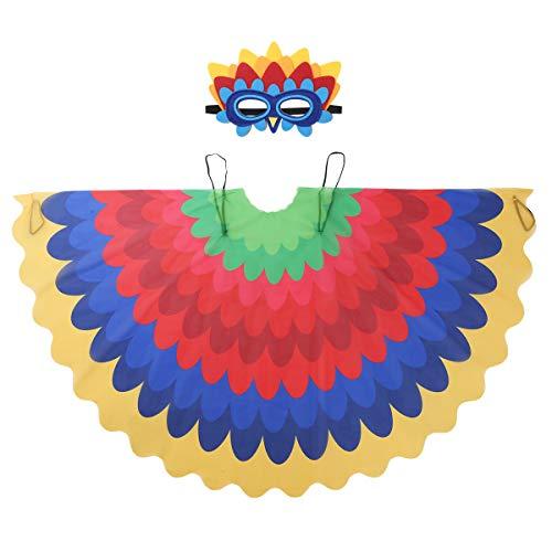 Alvivi Disfraz de Real Aves Alas de Pavo Pájaro Capas Infántil Dibujos Animados Divertidos con Máscara de Ojos Costume Cosplay Niños para Halloween Carnaval Navidad Tipo E Una Talla