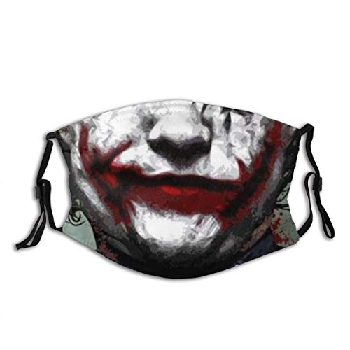 Dust Mask Bloody Terror Joker Smile Mouth Mask Fashion Printing Design Reusable Windproof Dustproof Protective Fabric Black Face Mask Outdoors Neck Gaiter Balaclava with 2 Filters for Teens Women Man