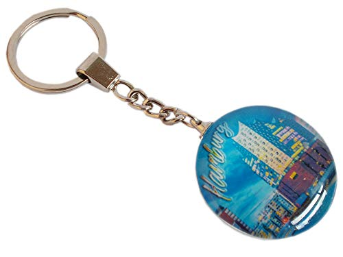 Hamburg Schlüsselanhänger mit doppelseitigem Motiv und Glas - Maritimes Souvenir mit Hamburger Elbphilharmonie