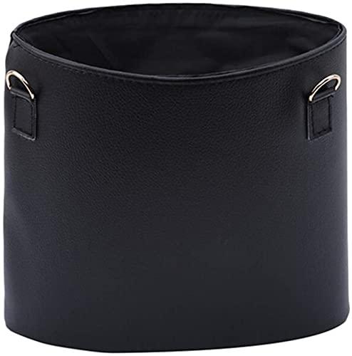 Kun yi Coche multifunción Creativa Colgante PU Bolso de Cuero Bolsa de Basura Juguete Sundries Almacenamiento Bolsa portátil Coche Suministros de Interior está Bien (Color : Black)