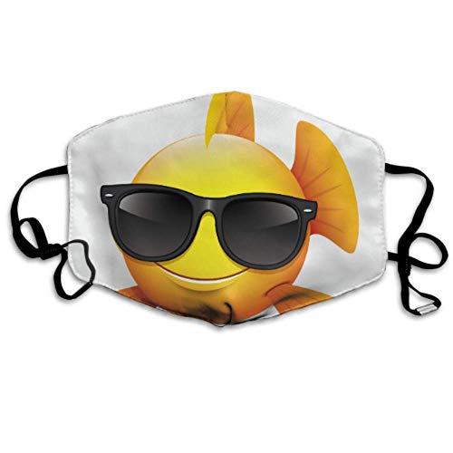 Niedlicher Fisch Emoticon Smiley trägt Sonnenbrille Mundabdeckung Staubschutz Schutz Mundabdeckung