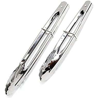 Hometeq (2 Pack) 11  and 9  Kitchen Metal Food Clamp Serving Tongs Easy Locking for Vegetable BBQ Cake Bread (C)
