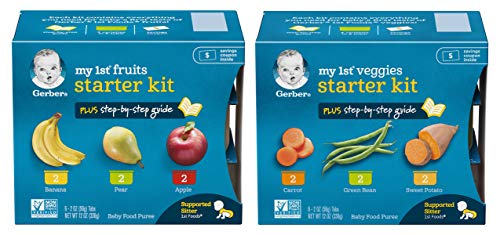 Gerber My 1st Fruits and Veggies Stage 1 Baby Food Starter Pack Bundle, 2 items, 2 Ounce Tubs, (12 Tubs Total)