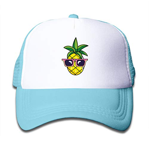 XTtadco Pineapple Kids Baseball Cap for Boys Girls Adjustable Trucker Hat with Mesh Sky Blue