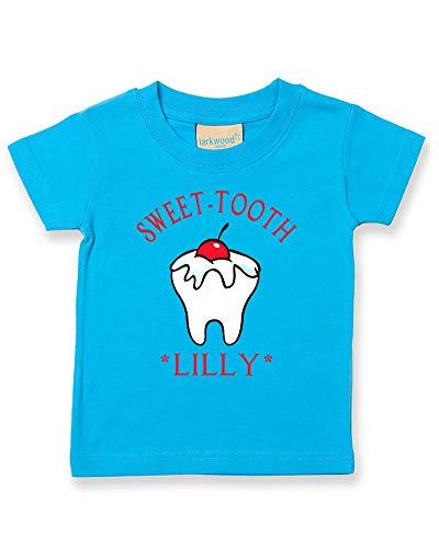 Ice-Tees T-shirt personnalisé pour bébé avec motif de dents - Turquoise - 2-3 ans
