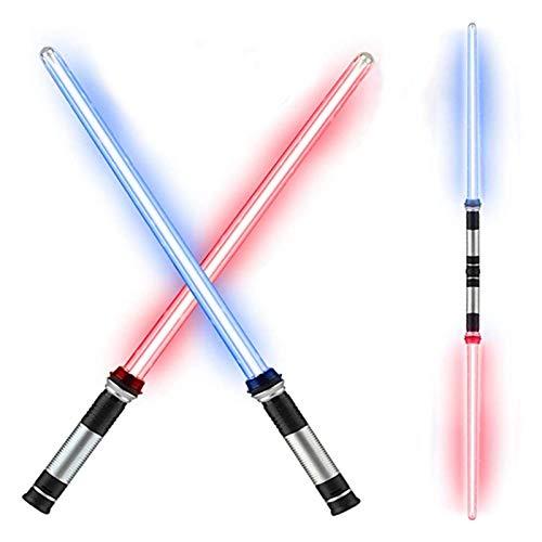 Ljourney LED Glow Stick Toy con Suono | 2 Pezzi di Spada Laser Telescopica E Pieghevole | Giochi di Battaglia con Spada Laser per Ragazzi Bambini