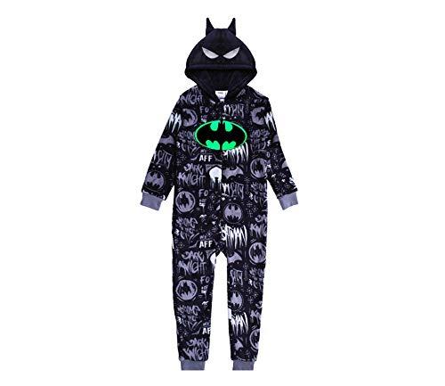 Batman Schlafstrampler für Jungen, Schlafanzug Overall für Kinder, Strampelanzug mit 3D Kapuze, Im Dunkeln Leuchten Design, Kinder Kostüm, Geschenk für Jungen! 5-6 Jahre