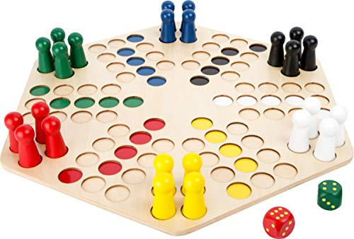 small foot 1800 Ludo für 6 Spieler mit großem Brett aus Holz, Gesellschaftsspiel für die ganze Familie, ab 4 Jahren