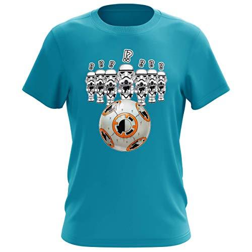 T-Shirt für Herren, weiß, Parodie Star Wars – BB-8 Vs Les Stormtroopers – BB Bowling (hochwertiges T-Shirt – bedruckt in Frankreich) Gr. XS, türkisblau