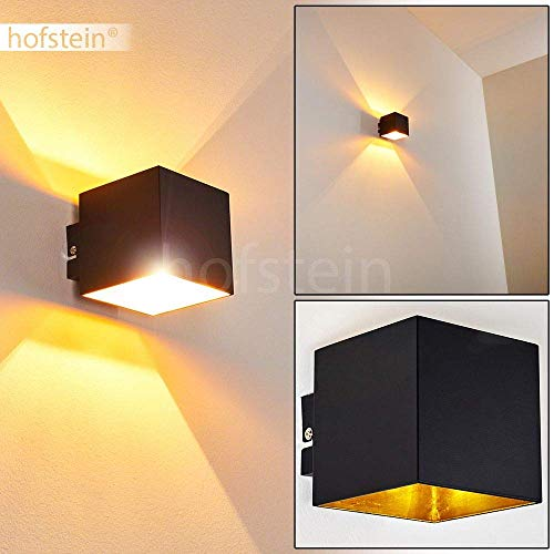 Wandlampe Varco aus Metall in Schwarz/Gold, moderne Wandleuchte mit Lichteffekt, 1 x G9-Fassung, max. 28 Watt, Cube/Innenwandleuchte mit Up & Down-Effekt, geeignet für LED Leuchtmittel