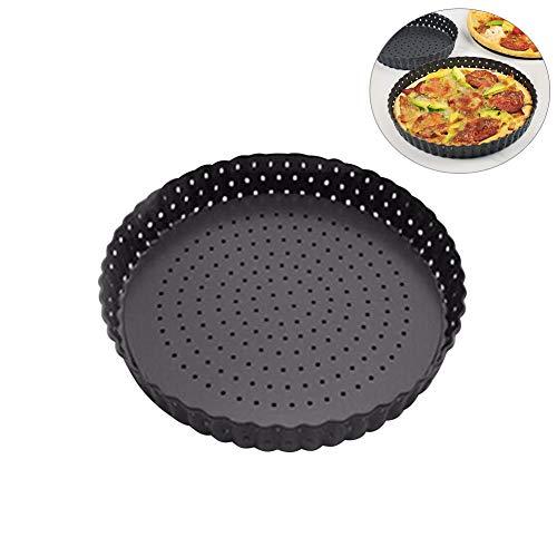 URMOSTIN Moule à Pizza Perforé, Moule à Tarte/Quiche - Moule à Gâteau Rond - Fond Amovible - Revêtement Antiadhésif - Ø 20 cm