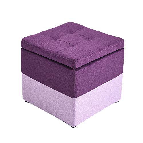 STOOL Storage Ottoman Pouffe,Change Shoes, Kids Toy Box/Seater Bench/Strong Bearing Capacity 200kg,Textile Linen,for Dressing Room/Study Room/Living Room,4 Colors