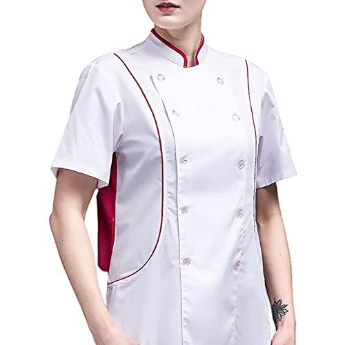 GAOSHENGWUJINGD Chef Coat Men Women Unisex Short Sleeve Restaurant Chef Kitchen Work Uniforms, Double Breasted Sushi Bakery Cafe Waiter Catering Service Jackets (Color : White, Size : F(4XL))