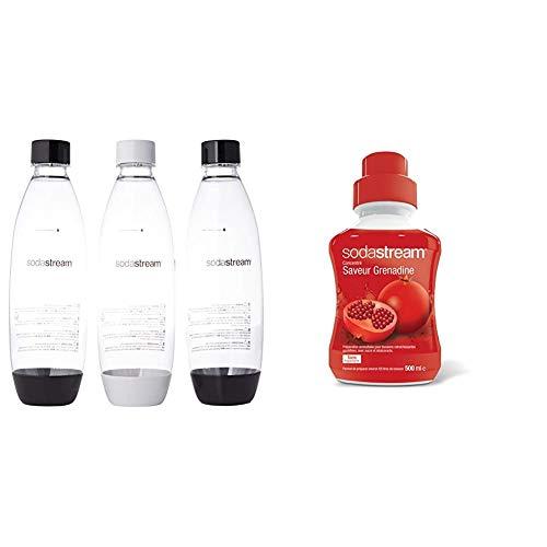 sodastream Pack 3 Bouteilles Pet, 1L Fuse, Blanc et Noir & Concentré Saveur Grenadine 500 ML