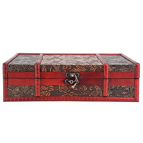 Livro grande de madeira vintage, caixa de tesouro, caixa de madeira clássica estilo vintage para armazenamento de joias, coleção de cartões, presentes e decoração de casa (#2)