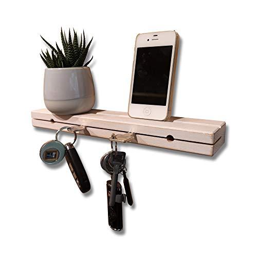 AVEELO Schlüsselbrett aus Holz Buche massiv 30x6x3cm Schlüsselhalter in Schwebeoptik Schlüsselboard Schlüsselleiste Schlüßelbrett (Buche mit Nut Vintage)