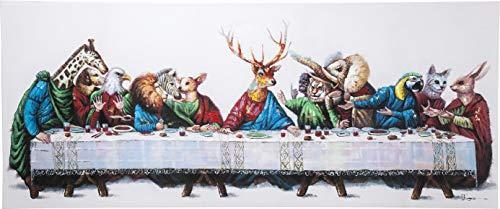 Kare Design Bild Touched Last Supper, XXL Leinwandbild auf Keilrahmen, Riesen Gemälde, Motiv: letztes Abendmahl, handgefertigtes Ölbild, (H/B/T) 100x240x4cm