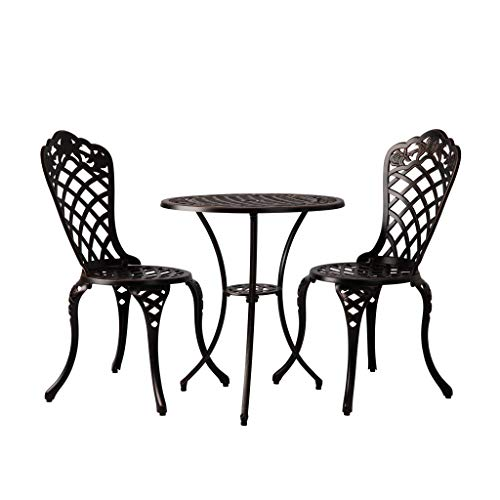 Patio Sense Scarlet Bistro Set | 3 Pieces | Round Table and 2 Chairs | Cast Aluminum Construction | Antique Bronze Finish | Ideal for Outdoor Seating, Porch, Lawn, Garden, Backyard, Pool, Deck,Balcony