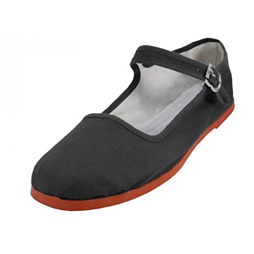 Shoes8teen Womens Cotton China Doll Mary Jane Shoes Ballerina Ballet Flats Shoes 11 Colors 9, 114 Black Canvas