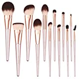 N/Q Elf makeup brush set, with soft synthetic hair and wooden handle, suitable for eye shadow, foundation, blush and concealer and other cosmetics, with makeup egg and lip brush.