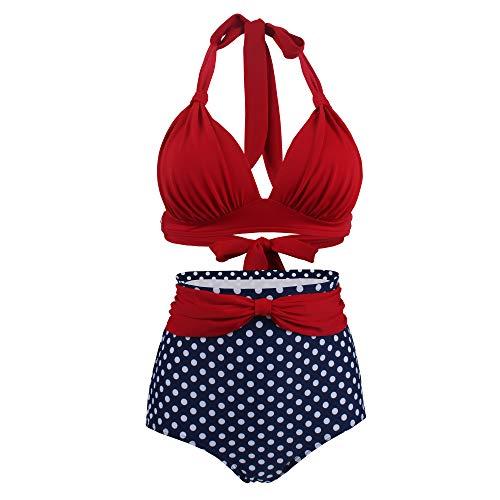 Viloree Vintage 50s Damen Bademode Bikini Set Push Up Hoher Taille Neckholder Bauchweg Rot Top + Blau Pola Dots Shorts XXXL