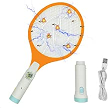 Electric Fly Swatter - Rechargeable Bug Zapper, Fruit Fly Killer, Mosquitoes Racket Killer Recquet 4000 Volt, USB Charging, Super-Bright LED Light to Zap in The Dark - Safe to Touch, 3-LED Torch