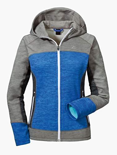 Schöffel Fleece Hoody Trentino L Damesjas met capuchon, ademend sweatshirt voor vrouwen, comfortabel gebreid vest met sportieve look