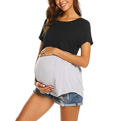 Mitlfuny Ropa premamá Tops Mujeres Embarazadas Maternidad Camisa Primavera Verano Plisada Doble Capa Cosiendo Lactancia Materna Camiseta Manga Corta Embarazo Blusa