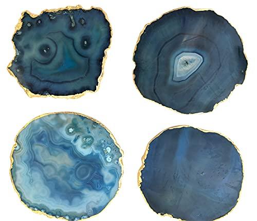 Sottobicchieri in vera agata, 80 – 110 mm, blu turchese con bordo dorato (4 pezzi)