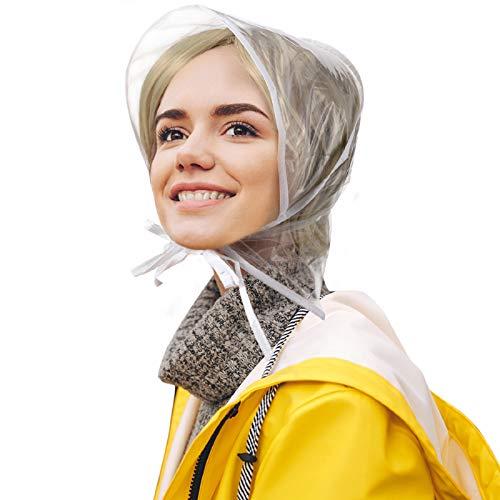 6 Piece Rain Bonnet with Visor Waterproof Clear Bonnet for Women Lady Rain Wear(White Edge)